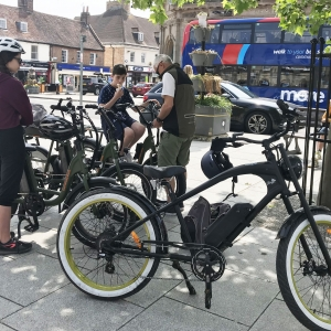 The bikes in the square at Wimborne Minster on ebike tour 2